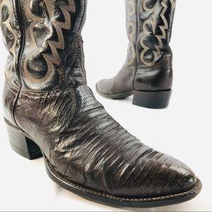 TONY LAMA Leather Lizard Skin Cowboy Boots 8 1/2 D